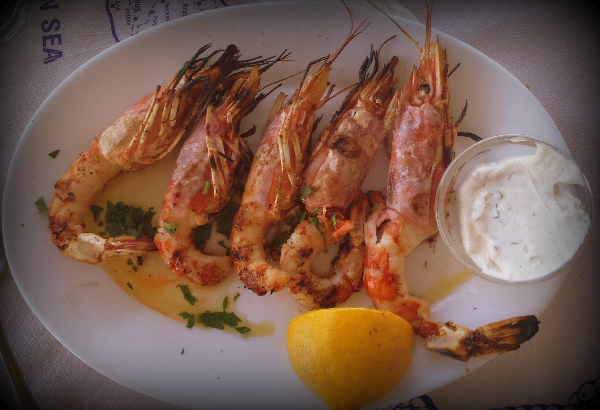Grilled Shrimps, Kissamos, Crete.