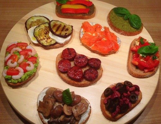 Variety of bruschetta